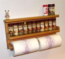 paper towel holder,spice rack,wooden holds 2 rolls , big, save space!