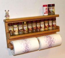 paper towel holder,spice rack,wooden holds 2 rolls , big, save space!
