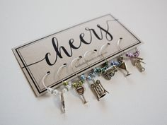 Cheers! Set of 6 vineyard wine charms - adorable gift for birthdays, house warming parties, or even party favors!