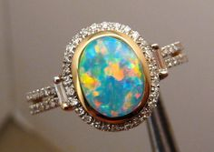 Red and Blue Harlequin Opal & Diamond Ring 14k Gold