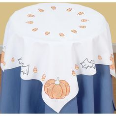 """Stamped White Perle Edge Table Topper 35""""X35""""-Halloween"""