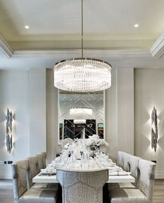 Luxury Home Interior Suspension Lighting Solutions for a Contemporary Dining Room.Luxury Home Interior Suspension Lighting Solutions for a Contemporary Dining Room Dining Room Lamps, Dining Room Lighting, Dining Room Design, Dining Room Furniture, Living Room Decor, Dining Table, Dining Chairs, Dining Area, Elegant Dining Room