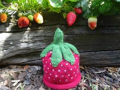 Strawberry Hat Baby Grows, Strawberry, Colours, Wool, Christmas Ornaments, Holiday Decor, Hats, Red, Baby Jumpsuit