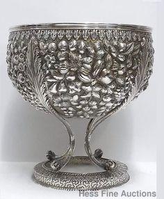 Antique S. Kirk Sons, Huge Civil War, Era Repousse Footed Pedestal Coin Silver Bowl.