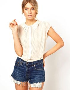 ASOS Blouse With Origami Collar In Spot Print