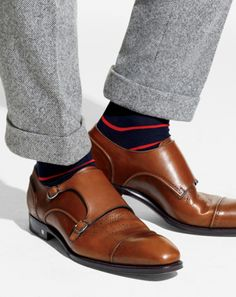 He would never, but these are fly. a pair of double monk strap shoes. Sock Shoes, Men's Shoes, Shoe Boots, Dress Shoes, Shoes Men, Office Fashion, Business Fashion, Business Attire For Men, Double Monk Strap Shoes