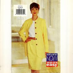 A Semi-Fitted, Mid-Knee Length Straight Skirt, and Collarless, Loose Fitting Jacket Pattern, $2.00
