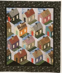 Building Block - Neighborhood Quilt, 42 x 50 in. pieced by Juanita Canfield - see Alicia's Attic - Big Block of Building Block Quilts by Sara Nephew House Quilt Patterns, House Quilt Block, Quilt Block Patterns, Quilt Blocks, Star Quilts, Mini Quilts, Quilting Projects, Quilting Designs, Miniature Quilts