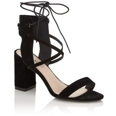Fashion Union Single Strap Mid Heel Sandals ($41) ❤ liked on Polyvore featuring shoes, sandals, black shoes, lace up heel sandals, laced sandals, black lace up shoes and heeled sandals