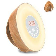 Holz Wake Up Licht, Lichtwecker Coulax Wecker Sonnenaufgang mit 6 natürlichen Sounds & FM Radio & Snooze Funktion, Verblassenden Nachtlicht mit 7 Farben, Holzmaserung, Touch Control, Nachttischlampe