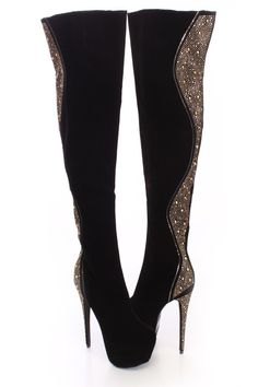 Black Beaded Studded Faux Suede Thigh High Boots