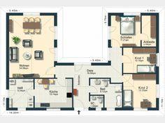 bungalow grundriss mit einem atrium haus einrichtung pinterest haus grundrisse und fu b den. Black Bedroom Furniture Sets. Home Design Ideas