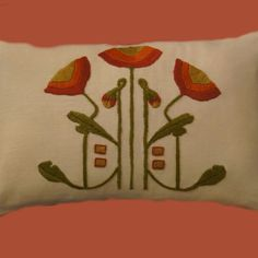 Craftsman Style Textiles, Hand Embroidery. Poppy Pillow Orange FrontPoppy Pillow Orange Front 1.0
