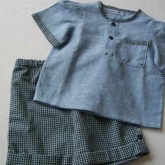 Ensemble chemisette jeans et short petits carreaux marines et bleus clair taille 18mois/2 ans