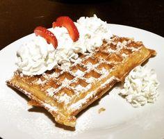 side toppings on crispy Belgian Waffle Belgian Waffles, Brussels, Breakfast, Food, Belgium Waffles, Morning Coffee, Essen, Meals, Yemek