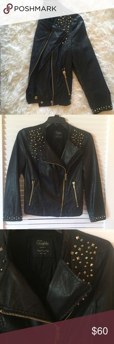Studded faux leather jacket Super cute and edgy faux leather jacket with gold hardware and studded details and cropped arms Zara Jackets & Coats