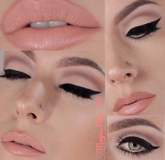 How to create the perfect cat eye make-up look? Cat eyeliner and soft lipstick makeup inspiration Beauty Make-up, Beauty Hacks, Beauty Tips, Maya Mia, Winged Eyeliner Tutorial, Winged Liner, Eye Liner, Make Up Braut, Tips Belleza