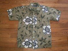 BOYS medium 8/10 FADED GLORY khaki OLIVE GREEN s/s HAWAIIAN SHIRT floral print