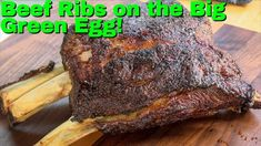 BBQ beef ribs on my Big Green Egg, smoked over bourbon barrel oak.  I seasoned the ribs with a new BBQ Rub from Suchi's Spices, and they turned out fantastic! Bbq Beef Ribs, Beef Steak, Smoked Beef Ribs Recipe, Green Egg Recipes, Bbq Rub, Rib Recipes, Green Eggs, Barbecue Recipes, Smoking Meat