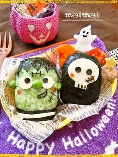Halloween:フランケン&ドクロ★ハロウィンキャラ弁