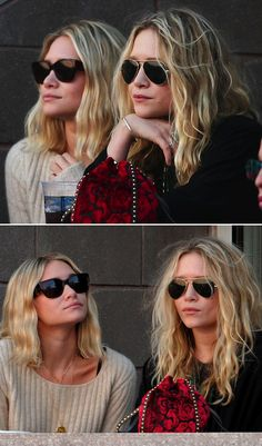 MKA MARY KATE ASHLEY OLSEN TENNIS WATCHING SUNGLASSES SWEATERS KNITNS VELVET RED POUCH CLUTCH BAG STUDDED WAVY BOB SHORT HAIRCUT
