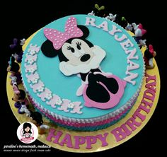 Minnie mouse design fresh cream cake