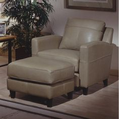 Skyline Leather Ottoman Upholstery: America - Chianti, Down Seat Upgrade: Standard Cushions, Finish: Natural  #OmniaFurniture #Home