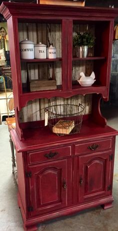 New Farmhouse Living Room Red Paint Colors Ideas Refurbished Furniture, Paint Furniture, Repurposed Furniture, Furniture Projects, Furniture Makeover, Hutch Makeover, Refurbished Hutch, Hutch Redo, Furniture Styles