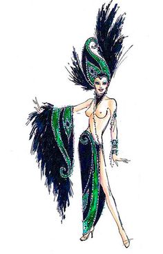 Emerald Jubilee showgirl costume sketch by Bob Mackie Moulin Rouge Costumes, Burlesque Costumes, Theatre Costumes, Cool Costumes, Dance Costumes, Showgirl Costume, Mardi Gras Costumes, Beautiful Costumes, Bob Mackie