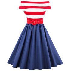 Stripe Off The Shoulder Vintage Dress (115 DKK) ❤ liked on Polyvore featuring dresses, striped dresses, blue dress, vintage day dress, blue stripe dress and off the shoulder dress