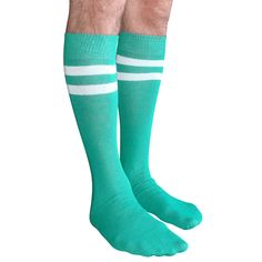 Green athletic tube style mens knee socks with 2 white stripes.  Shop our entire Mens collection.  Chrissy's Socks 877-862-6267