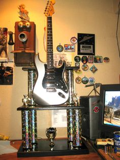 One of the trophies we built for Fender with a real Fender Guitar.
