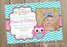 Chevron Owl Birthday Invitation by UniqueDesignzzz on Etsy