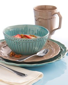Home Accents Capri dinnerware in taupe and aqua are the perfect fit for your dorm this year. Add this stylish yet casual collection to your back to school shopping list!