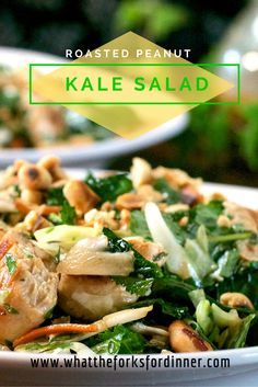 Roasted Peanut Kale Salad- Kale, cabbage, mint, cilantro,parsley, and grilled chicken with a roasted peanut dressing.