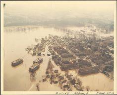 Ohio University Campus, Athens Ohio -- aerial view of 1964 flood.