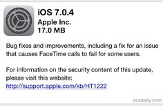 iOS 7.0.4 update is now available