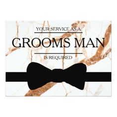 Your Service Is Requested as Bestman Marble back Card - wedding invitations diy cyo special idea personalize card