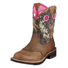 Fatbaby Cowgirl Distressed Brown/Camo Ladies' Boots by Ariat