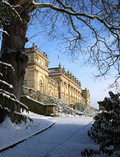 A winter sunrise over Harewood House -a country house in Harewood near Leeds, West Yorkshire, England. Designed by architects John Carr and Robert Adam, it was built between 1759 and 1771 for wealthy plantation owner Edwin Lascelles, Baron Harewood Yorkshire England, England Uk, North Yorkshire, Northern England, Yorkshire Dales, Harewood House Leeds, Illustration Photo, English Manor Houses, Temples