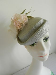 Grey Straw Fascinator Hat with White SilkIvory by FrouFrou4YouYou, $100.00