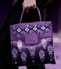 omg. bright purple prada jeweled bag. fall 2012.