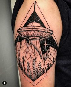 Post with 0 votes and 23265 views. UFO / Space Tattoo by David Mushaney at Rebel Muse Tattoo in Lewisville, TX Rose Tattoos, New Tattoos, Small Tattoos, Castle Tattoo, Dinosaur Tattoos, Alien Tattoo, Tattoo Portfolio, Tattoo Shop, Ufo Tattoo