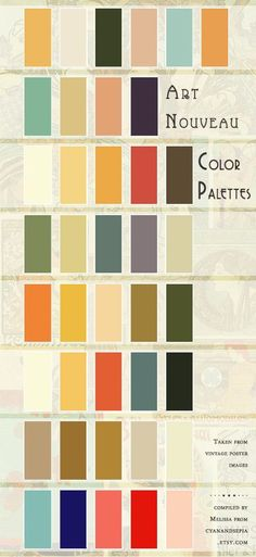 Authentic Art Nouveau Color Palettes, derived from vintage poster images. Compil… Authentic Art Nouveau Color Palettes, derived from vintage poster images. Compiled for my own purposes, but decided to share it, too! Colour Pallete, Colour Schemes, Color Combos, Color Palettes, Color Pairing, Pantone, Design Art Nouveau, Art Nouveau Interior, Art Nouveau Pattern