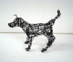 Unique Wire Dog Sculpture by Nakisha  CURIOUS PUPPY by wireanimals,