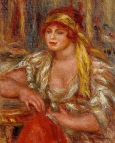 Andree in Yellow Turban and Blue Skirt.Pierre-Auguste Renoir (1841 - 1919)
