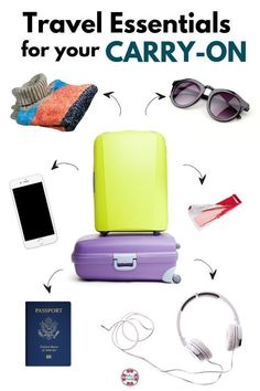 Travel essentials for your carry on! For your next trip, make sure that you pack all of these must haves in your bag! These trips are perfect for solo or family vacation packing. Don't forget these carry on bag essentials to make travelling a breeze! Packing Tips For Vacation, Road Trip Packing, Travel Packing, Vacation Trips, Travel Tips, Travel Destinations, Travel Hacks, Cruise Packing, Packing Lists
