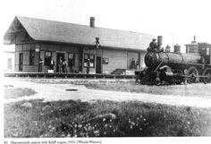 HARROWSMITH, Ontario 1910 Kingston & Pembroke &  Grand Trunk Railway shared railway station