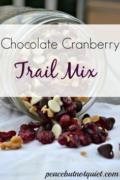 Chocolate Cranberry Trail Mix #Recipe -- one of our faves for after-school snacks and hiking trips!