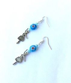Blue millefiori ballerina earrings